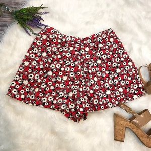 ZARA Red Floral Pleated Shorts